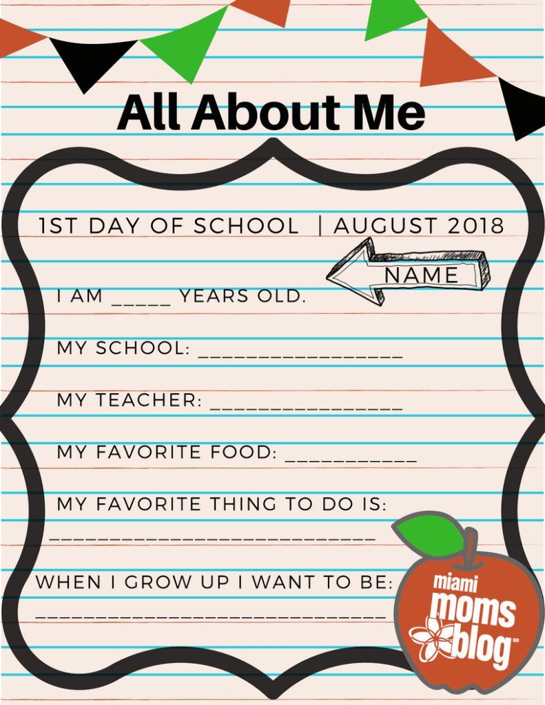 Back to School Questionnaire Miami Moms Blog Free printable