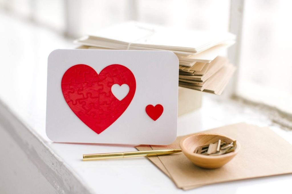 Celebrate love Card with heart puzzle Alternative Ways to Celebrate Love With Your Valentine Vanessa Santamaria Contributor Miami Moms Blog