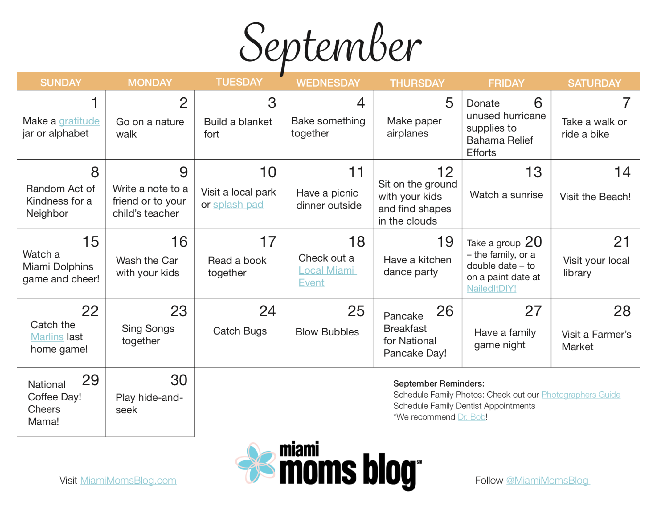 september activity calendar miami moms blog