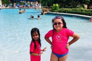 My daughters enjoying the resort pool