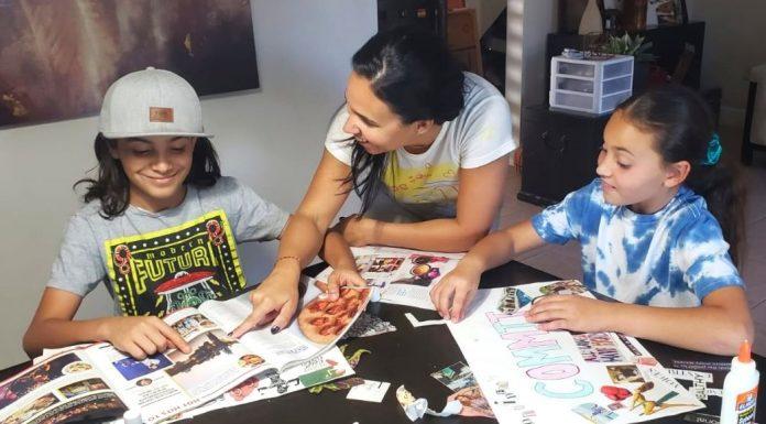 Illiett working on vision boards with her kids (Vision Boarding: How to Create a Vision Boards for Children Illiett Ojeda Contributor Miami Mom Collective)
