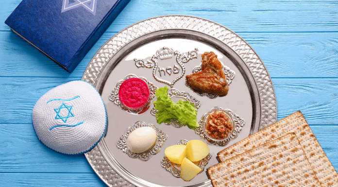 A Passover Seder plate (Teaching Kids About Passover: Books for All Ages Rachelle Haime Contributor Miami Mom Collective)