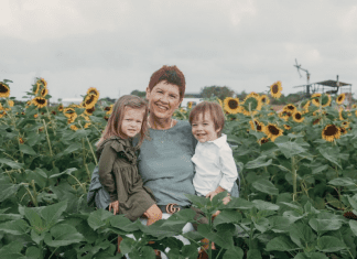 Photo of Holly with her grandchildren (Miami Mom Collective Welcomes MIA Mom Holly Farver Contributor)
