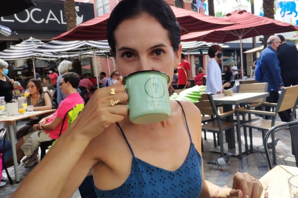 Kristen with a cup of tea (Like Throwing Caffeine on an Anxiety Fire Kristen Llorca Contributor Miami Mom Collective)