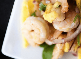 Mango salsa with shrimp (Recipes: 3 Inspirations to Help You Keep Your New Year's Resolutions Janeris Marte Contributor Miami Mom Collective)