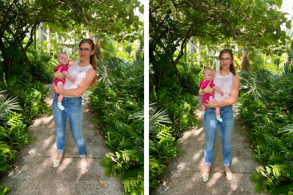 Andrea demonstrating the side hold with her baby (Great Habits To Form When Handling Your Baby Andrea Wood Contributor Miami Mom Collective)