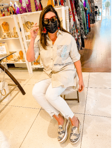 Meredith in a trendy beige ensemble (Meredith Kallaher Contributor Miami Mom Collective)