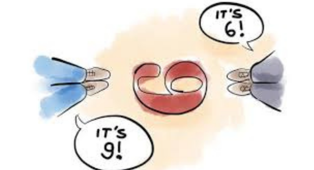 Two people looking at the number 6 from a different perspective (Disagreement Is an Opportunity for Connection--Agree or Disagree? Holly Farver Contributor Miami Mom Collective)