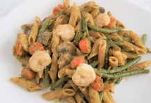A plated portion of penne pesto skillet (Penne Pesto Skillet: An Easy One-Pot Meal for Busy Weeknights Dina Garcia Contributor Miami Mom Collective)