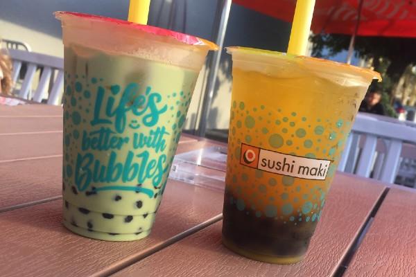 Two kinds of bubble tea from Sushi Maki (Bubble Tea: My Epic Quest for the Perfect Boba Combination Kristen Llorca Contributor Miami Mom Collective)