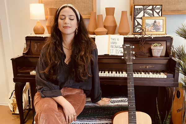 Jacqueline meditating at her piano (Inner Peace: Finding It During a Health Pandemic Jacqueline Jebian Garcia Contributor Miami Mom Collective)