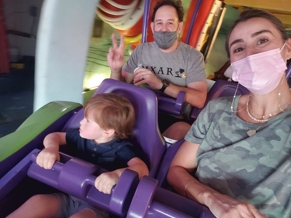 """Sandra and her family on the Suess Trolley Train Ride (Universal Orlando: The """"Other"""" Theme Park Sandra Jacquemin Contributor Miami Mom Collective)"""