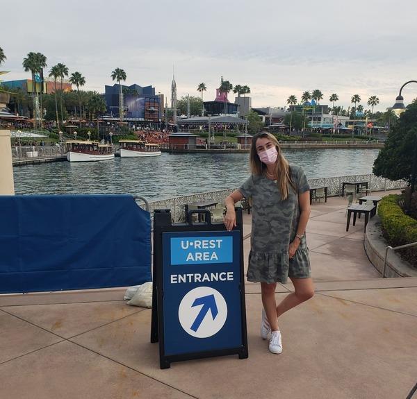 "Sandra at a U Rest Area at Universal Studios Orlando (Universal Orlando: The ""Other"" Theme Park Sandra Jacquemin Contributor Miami Mom Collective)"