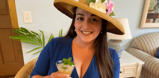 Alisa with her fancy hat and mint julep (Mombod's Mint Julep for Kentucky Derby Day Alisa Britton Contributor Miami Mom Collective)