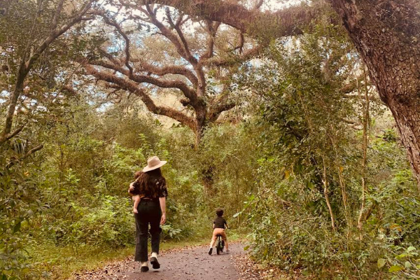 Jacqui enjoying a hiking trail with her kids (PPD: Managing Feelings of Grief and Loss Jacqueline Jebian Garcia Contributor Miami Mom Collective)