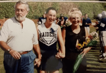 Sandra with her parents at a high school football game (Love Where You Live: Why I Love Living In Pinecrest Sandra Jacquemin Contributor Miami Mom Collective)
