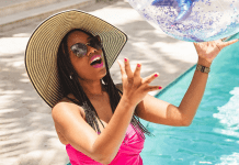 Sharonda enjoying the pool (Swimsuits for Moms: This Season's Top 5 Sharonda Stewart Contributor Miami Mom Collective)
