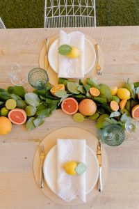 A citrust themed table runner (Aymee Blanco Contributor Miami Mom Collective)