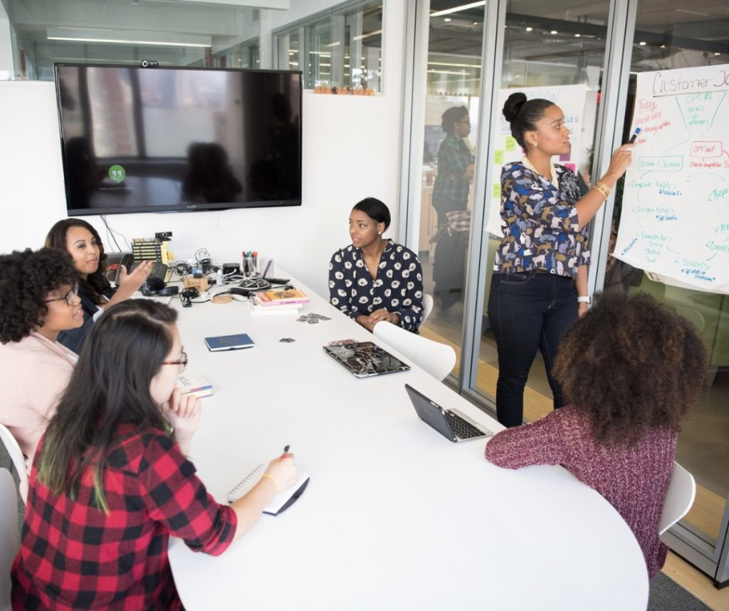 A group of corporate women meeting in a conference room (August is Black Business Month: 3 Ways to Support Black Businesses Sharonda Stewart Contributor Miami Mom Collective)