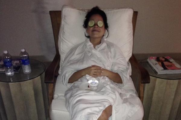 Lorena enjoying the spa (Lorena Lougedo Contributor Miami Mom Collective)