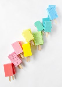 A sponge popsicle garland (Aymee Blanco Contributor Miami Mom Collective)