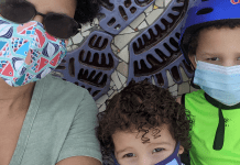 Lynda and her kids wearing their masks (Back to School: Helping Your Kids Succeed | Dr. Bob Pediatric Dentist Lynda Lantz Contributor Miami Mom Collective)