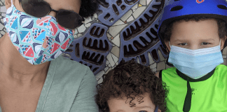 Lynda and her kids wearing their masks (Back to School: Helping Your Kids Succeed   Dr. Bob Pediatric Dentist Lynda Lantz Contributor Miami Mom Collective)