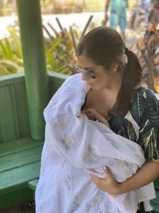 Valerie nursing her baby in public for the first time (About Breastfeeding: 11 Surprising Things I Didn't Know Valerie Barbosa Contributor Miami Mom Collective)