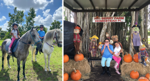 Vanessa's daughters riding horses and enjoying a fall-themed display (7 Things to Add to Your Fall Bucket List This Year Vanessa Santamaria Contributor Miami Mom Collective)