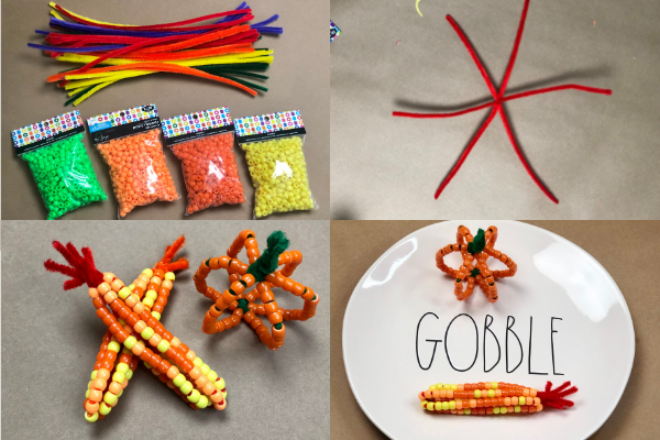 Supplies for the beaded pipe cleaner maize and pumpkin (Fall Crafts: 3 Easy Activities to Kick Off the Season With Your Little Ones Jessica Socarras Contributor Miami Mom Collective)