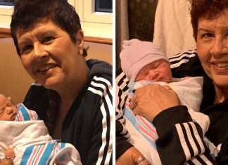 Holly holding her grandbabies for the first time (Grandparents Day 2021: Becoming a Grandparent Is a Special Gift Holly Farver Contributor Miami Mom Collective)