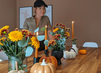 Image: Rachel decorating her dining table with fall flowers (Get the Fall Feeling in Miami Rachel Hulsund Contributor Miami Mom Collective)
