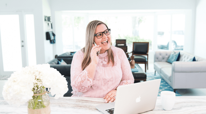 Image: Vanessa working from home (Support Working Women This National Business Women's Week Vanessa Santamaria Contributor Miami Mom Collective)